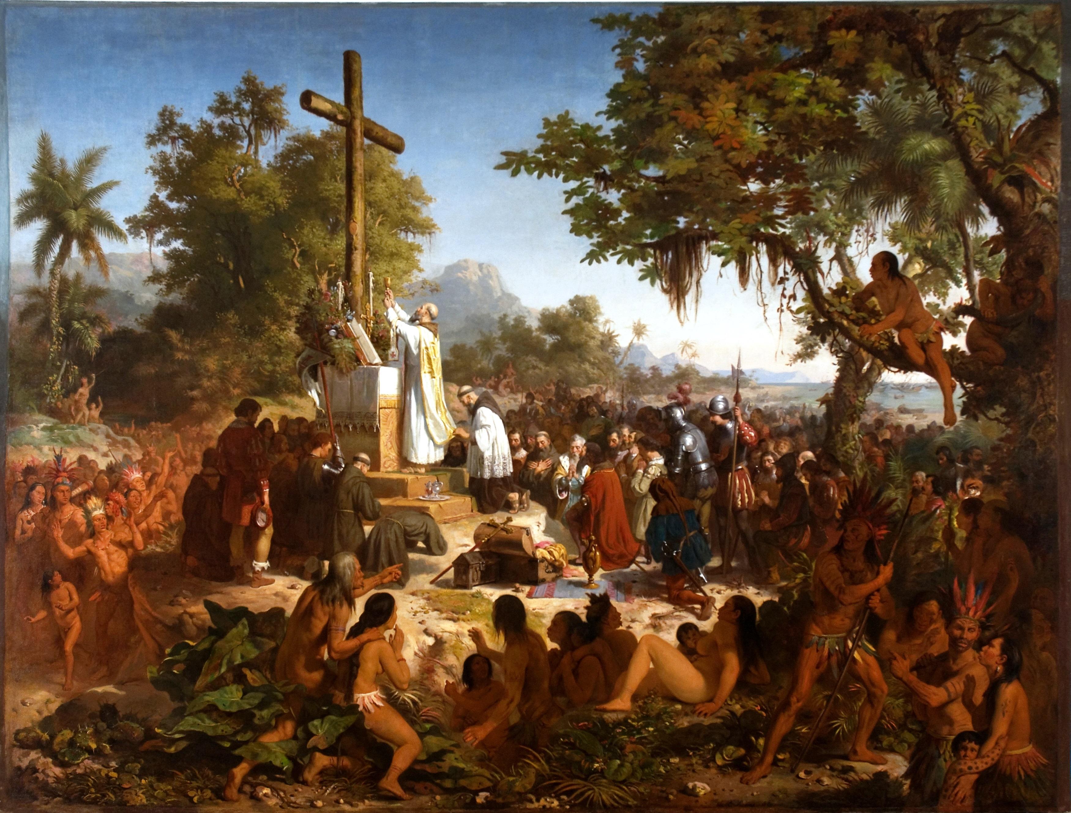 Resultado de imagem para a primeira missa no brasil pintura