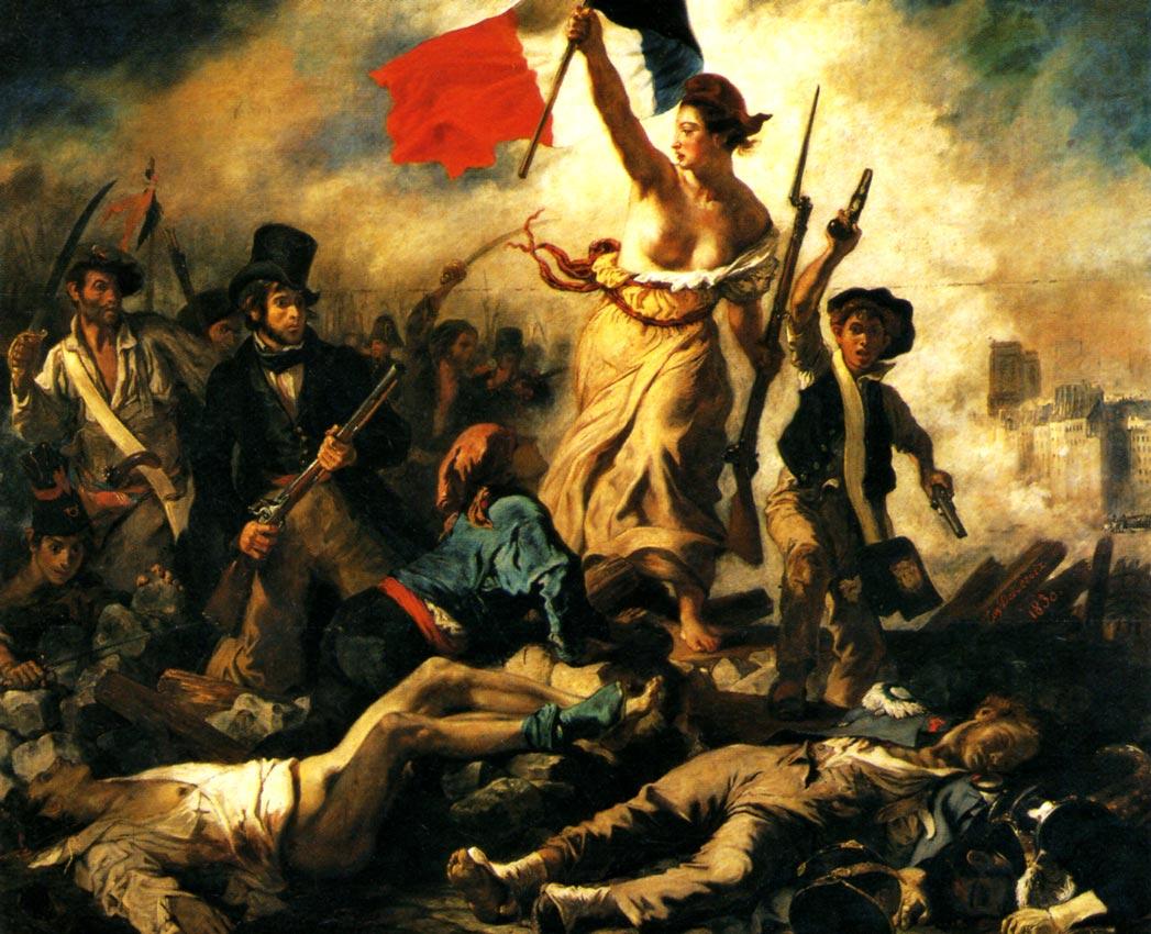 """""""A liberdade guiando o povo"""", de Eugène Delacroix, em homenagem ao movimento revolucionário francês de 1830."""